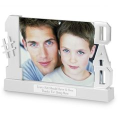 """Dad Float Frame: For home or office, here's how to show the world who holds a very important place in your life. Give this classic """"Dad"""" frame as birthday, Father's Day or Holiday gift! Each holds a favorite 4"""" x 6"""" photo. Add a name and a few heartfelt words to the engraving plate to make this gift speak for you each time it's admired."""