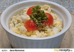 Vajíčkový salát s medvědím česnekem recept(tvrdý sýr,vejce natvrdo,majolka,ster.okurka,jarní cibulka)