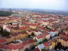Česko, Praha - Žižkov a Vinohrady z televízní věže