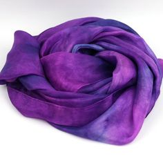 Hand Dyed Silk Scarf -  Blue, Purple, Pink