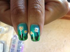 Daisy Summer nails - Natural Nails - CND shellac polish (turqouise), daisy design with grass- regular and glitter polish with rhinestone embelishment- By Jade Phuong's Nail Artist Team at Blackhawk Nail and Spa