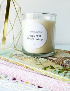 Soy Wax Candle, Scented Candle, Sweet Orange Scent, 8 oz Jar Candle, People Will Always Gossip label, Hand Poured
