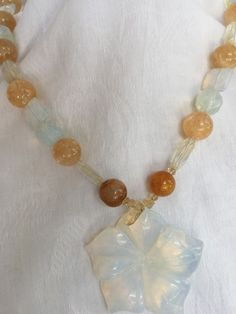 handmade Opal and Citrine Stone Necklace with Faceted flower pendant #Handmade #necklace