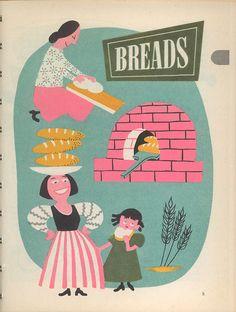 Watkins Hearthside Cookbook, from the J. No illustrator credit. Children's Book Illustration, Food Illustrations, Vintage Labels, Retro Vintage, Cookbook Design, Cookbook Ideas, Vintage Cooking, Vintage Cookbooks, Vintage Advertisements