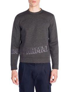 EMPORIO ARMANI Felpa Crewneck Heather Sweatshirt. #emporioarmani #cloth #sweatshirt