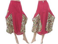 Handmade artsy boho linen bulgy balloony skirt in von classydress, $130.00