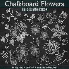 """Chalkboard clip art flowers - Digital clipart """"Chalkboard flowers"""" #clipart…"""