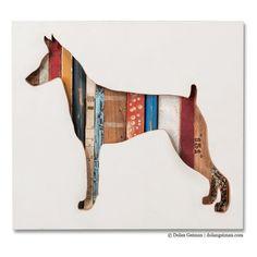 Doberman Silhouette Custom Dog Portrait von dolangeiman auf Etsy, $249.00