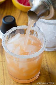 How to Make Pink Grapefruit Margarita Recipe | ASpicyPerspective.com