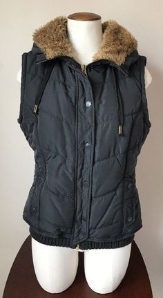 Womes Juniors American Eagle Faux Fur Navy Hooded Puffer Vest Size Medium | Clothing, Shoes & Accessories, Women's Clothing, Vests | eBay!