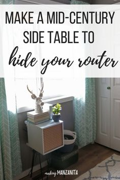 How To Hide Router Cords With A Mid Century Side Table | Hide Router, Cable  And Mid Century