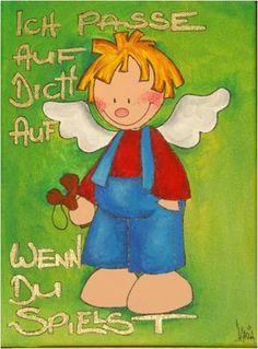 Schutzengel Fritz~Acryl Bild Kinderzimmer~knolli von knolli-art auf DaWanda.com