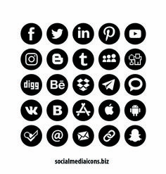 New Freebie!  Round social media icon Set download for Free via Socialmediaicons.biz  #socialmedia #icons #download Black Social Media Icons, Icon Package, Most Popular Social Media, Desktop Publishing, Icon Set, App Design, Free, Application Design
