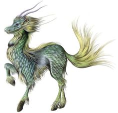 Kirin- Chinese myth: the body of an equine with scales, mane, beard, and antlers. When it was seen running by it was an omen of blessing.