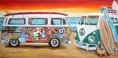 VOLKSWAGEN ART VW ART VW Paintings VW Pop Art HANDPAINTED VW Surf Art VW ART Volkswagen Art ORIGINAL VW BEETLE ART BUG ART VOLKSWAGEN CAMPER BUS SURFBUS ART Original Handpainted Bespoke Canvas Art from The Kludoman Surf Co.