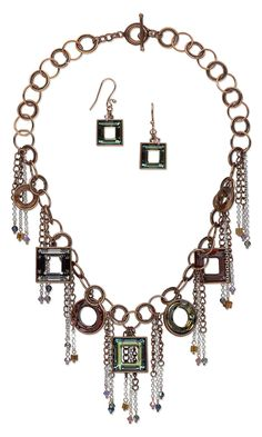 Jewelry Design - Bib-Style Necklace and Earring Set with Swarovski Crystal Beads and Components and Metal Chain - Fire Mountain Gems and Beads