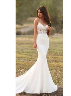 Gorgeous Satin Mermaid Wedding Dress with Lace Spaghetti Strap Backless Illusion. - Gorgeous Satin Mermaid Wedding Dress with Lace Spaghetti Strap Backless Illusion Bridal Gown Modest Simple Reception Dress for Bride – Wedding decorations – Source by - Boho Wedding Dress With Sleeves, Satin Mermaid Wedding Dress, Top Wedding Dresses, Wedding Dress Trends, Bridal Dresses, Gown Wedding, Dress Lace, Maxi Dresses, Inexpensive Wedding Dresses