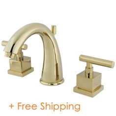 Buy the Kingston Brass Polished Brass Direct. Shop for the Kingston Brass Polished Brass Claremont GPM Widespread Bathroom Faucet with Pop-Up Drain Assembly and Metal Lever Handles and save. Contemporary Bathroom Sink Faucets, Brass Bathroom Faucets, Widespread Bathroom Faucet, Lavatory Faucet, Brass Faucet, Kingston Brass, Elements Of Design, Polished Brass, Solid Brass