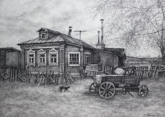 village_house_graphic_art_ink_pointillism _drawing using points