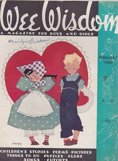 FEB 1940 WEE WISDOM childrens magazine - VALENTINES DAY - PAPER DOLL * 1500 free paper dolls Christmas gifts artist Arielle Gabriels The International Paper Doll Society also free paper dolls The China Adventures of Arielle Gabriel *