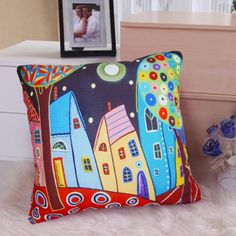 Night Landscape SOFT VELVET PILLOW COVER FOLK ART Various Sizes Karla Gerard #KarlaGerard