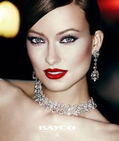 TBT to the stunning Olivia Wilde looking so glamorous in #BaycoJewels rose cut diamonds for a #Revlon campaign! #oliviawilde #bayco #finejewelry #redlips #diamonds #hautejoaillerie #luxury #thebest #model #beautiful #tbt #glamour