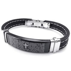 KONOV Mens Womens Rubber Stainless Steel Bracelet, Cross Prayer Cuff Bangle, Black -- Check this awesome image  : Valentine Gifts