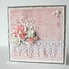 love, life and crafts Rudlis Flower Birthday Cards, Flower Cards, Pretty Cards, Cute Cards, Fabric Postcards, Shabby Chic Cards, Spellbinders Cards, Birthday Cards For Women, Easel Cards