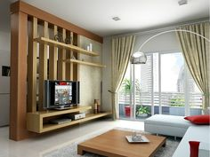Modern room partitions have many uses. They can divide a large room into smaller areas, separate a room, enhance your privacy, define a space or decorate Living Room Tv Wall, Living Room Tv, Living Room Tv Unit Designs, Living Room Design Modern, Living Room Designs, Room Partition Designs, Living Room Partition Design, Walls Room, House Interior