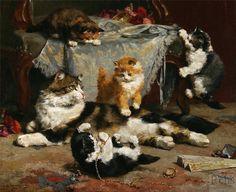 Charles van den Eycken (1859 - 1923)   Kittens at Play
