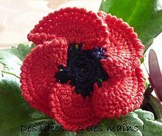 Fleur : Coquelicot au crochet