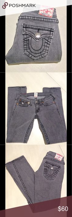 True Religion Gray Jeans Excellent condition, size 26, 1% elastic, 26-inch waist, 7-inch rise, 29.5-inch inseam, 7-inch flare True Religion Jeans Straight Leg