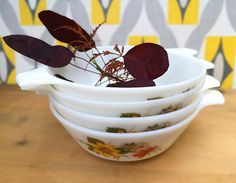 Autumn Glory pyrex handled bowls. Set of 4 four JAJ Pyrex soup