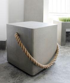 Lyon Beton Concrete Soft Edge Stool With Wheels & Rope Concrete Stool, Concrete Furniture, Concrete Cement, Decorative Concrete, Polished Concrete, Garden Furniture, Beton Design, Concrete Design, Wood Design