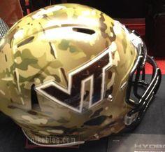 Camoflague Virginia Tech helmet the Hokies will wear on Sept. 22 for Military Appreciation Day