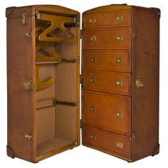 How amazing would it be to travel with this or use it in your dressing room!  1930 Hermes Leather Steamer Trunk