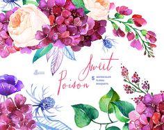 Zoet vergif: 5 aquarel boeketten, rozen, papaver, Hortensia, bruiloft uitnodiging, bloemen, wenskaarten, diy illustraties, paarse bloemen