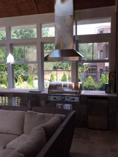 Sunroom with outdoor kitchen in Charlotte, NC.