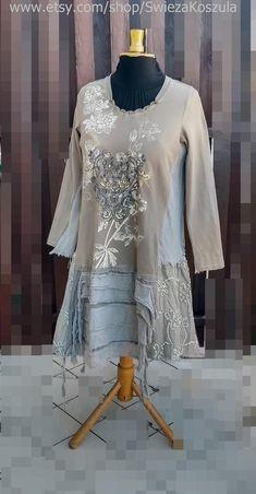 1X Patchwork Embroidery Dress Artistic Rustic Gypsy Style Free | Etsy Denim Shirt With Jeans, Mori Girl, Embroidery Dress, Gypsy Style, Handmade Clothes, Refashion, Boho Dress, Boho Chic, Etsy Shop