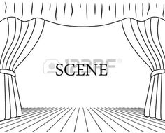 Illustration of theatrical scene drawing on a white background vector art, clipart and stock vectors. Stage Background, Background Drawing, Curtain Drawing, Stage Curtains, Theatre Stage, Stage Set, Aesthetic Art, Vector Art, Design Elements