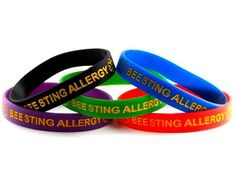 Bee Sting Allergy Silicone Wristband Bracelet MULTI-PACK