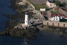 Aerial view of Portsmouth Harbor Lighthouse and Fort Constitution, New Castle, New Hampshire.