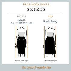 Pear Body Shape Skirts Do's and Don'ts - the concept wardrobe Body Shape Guide, Pear Shape Fashion, Pear Shaped Outfits, Triangle Body Shape, Rectangle Shape, Pear Shaped Women, Pear Body, Build A Wardrobe, Body Shapes