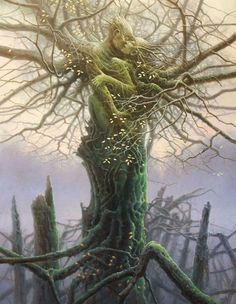 """DRYAD [noun] tree nymphs in Greek mythology. In Greek, drys signifies """"oak"""", from an Indo-European root *derew(o)- """"tree"""" or """"wood"""", thus dryads are specifically the nymphs of oak trees though the. Fantasy Kunst, Fantasy Art, Nature Verte, Image Zen, Art Amour, Art Visionnaire, Tree People, Nature Spirits, Visionary Art"""