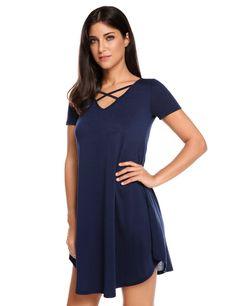 Navy blue Short Sleeve Solid V Neck Pullover Loose T-Shirt Dress