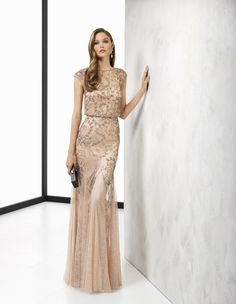 Long beaded cocktail dress, in rose/gold and nude/gold.