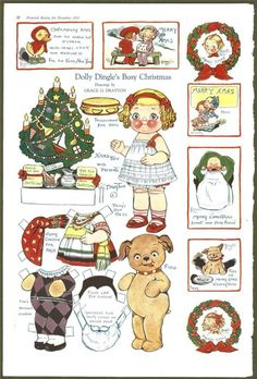 2 Page DOLLY DINGLE PAPER DOLL - Dec 1922 Pictorial Review - Christmas - Drayton | eBay