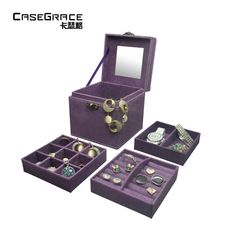 Casegrace classic store jewelry storage boxes suede leather square 3 layers flock drawer organizer girl caixa organizadora 01103