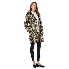by Henry Holland Brown faux fur leopard print coat Henry Holland, Leopard Print Coat, Staple Pieces, Debenhams, Layered Look, Print Patterns, Faux Fur, Dresses For Work, Stylish
