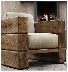 .Sofá em madeira rústica